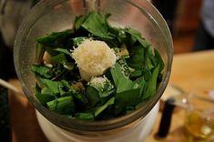 Wild Ramp Pesto recipe on Ramp Recipe, Pesto Recipe, Wild Ramps, Ramp Pesto, Waffle Bar, Still Tasty, Water Chestnut, Brunch Party, Molecular Gastronomy