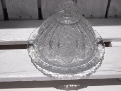Vintage Domed Butter Dish Hand Cut Crystal Pinwheel by BeckVintage, $48.00