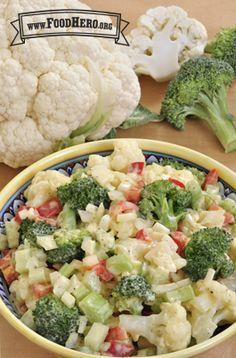 Try our creamy Cauliflower Salad Healthy Snacks For Kids, Healthy Salads, Healthy Foods To Eat, Healthy Eating, Healthy Recipes, Creamy Cauliflower, Cauliflower Salad, Cauliflower Recipes, Salad Dressing Recipes