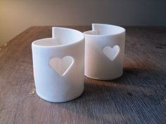 porcelain tealight holder heart ceramics pottery By Caroline Green Pottery