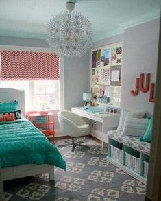 Colors, painted furniture, light fixture, storage bench, desk, patterned shade, tall bulletin boards & storage over desk.