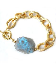 The Textured Gold and Labradorite Bracelet by JewelMint.com, $35.00