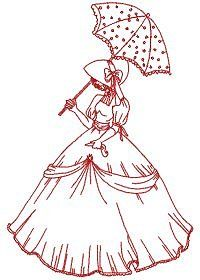 HatchedInAfrica.com Redwork Umbrella Bonnet Ladies