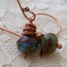 Czech Glass copper earrings