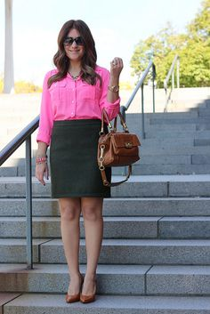 Bright neon blouse for fall with olive skirt