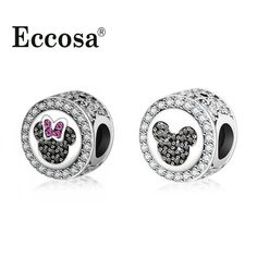 Fit Original Pandora Charms Bracelet Silver Plated Pave Clear CZ Minnie Mickey Charm Bead DIY Jewelry Making Berloque -- Detailed information can be found by clicking on the image