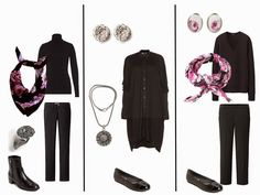 The Vivienne Files/ A Black Wardrobe with Bright Colors Black Wardrobe, The Vivienne, Paisley Scarves, Fashion Capsule, Cashmere Cardigan, Grey Pants, Frame Denim, Wearing Black, Capsule Wardrobe
