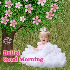 Good Morning Baby Pictures and Graphics - SmitCreation.com - Page 2 Beautiful Morning Pictures, Good Morning Images Flowers, Good Morning Photos, Beautiful Day, Cute Images For Dp, Baby Images, Baby Pictures, Good Morning Happy, Good Morning Wishes