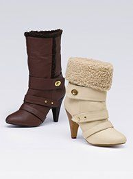 """Colin Stuart®  Side-buckle Bootie  Always have some style on the side. Faux-fur cuff.Imported polyurethane/faux sherpa. 3 1/2"""" heel.  Orig.$99 Clearance$49.99"""
