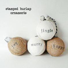 DIY Burlap Crafts : DIY Stamped Burlap Ornaments