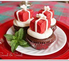 Rice Krispies Treat Christmas Present Cupcakes