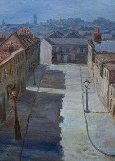 """Good morning & thank you for your kind wishes. Here's one that I hope you'll like: I often wonder whether this might have been painted at night &/or in winter. This is """"N E Bethnal Green"""" by George Board from Camden London, Camden Town, London Art, East London, Bethnal Green, Watercolor Landscape, Landscape Art, Urban Landscape, Carpe Diem"""