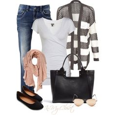 A fashion look from November 2012 featuring Ollio shoes, Smythson tote bags and Vero Moda scarves. Browse and shop related looks. Fashion Moda, Cute Fashion, Look Fashion, Fashion Outfits, Womens Fashion, Fashion Trends, Ladies Fashion, Fashion Ideas, Fashion Shoes