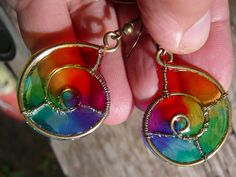 Brass wire wraped earrings Rainbow snails by rainbowIVAart on Etsy