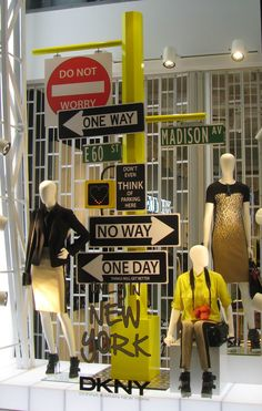 Eye-catching & statement window - creating a NYC spirit and brand identity through signage DKNY, New York City, USA
