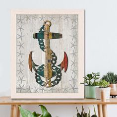 Anchor print - Distressed Wood Effect Anchor 1 Anchor wall decor Anchor decor Anchor gift for navy wife gift for boyfriend Nautical wall art
