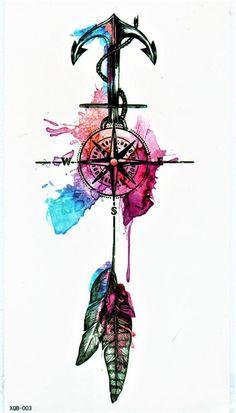 Temporary Tattoo: Sheet size: 12 cm x 20 cm x inch) water resistan. - Temporary Tattoo: Sheet size: 12 cm x 20 cm x inch) water resistant and easy to remov - Music Tattoos, Arrow Tattoos, Body Art Tattoos, Small Tattoos, Maritime Tattoo, Tattoo Drawings, Art Drawings, Watercolor Compass Tattoo, Graffiti Wallpaper