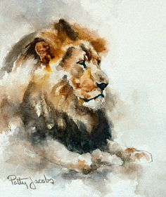 Watercolor Art Print His Majesty by PattyJacobs on Etsy Art Watercolor, Watercolor Animals, Lion Painting, Painting & Drawing, Lion Tigre, Lion Art, African Animals, Wildlife Art, Animal Paintings