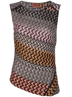 Multicoloured knitted vest top from Missoni featuring a round neck, and an all-over signature Missoni pattern.