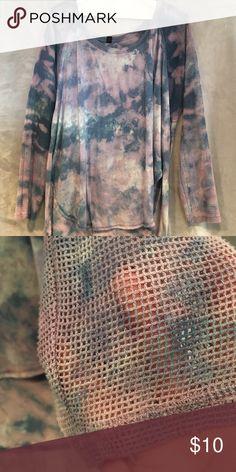Long sleeve top Tye dye blues  muted lavender  ..net sleeves Jessica Simpson Tops Tees - Long Sleeve
