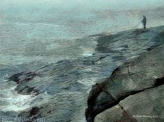 SOLITARY FISHERMAN - ALONE AT LAST  Muted grays and blues of a solitary man fishing on the fog  shrouded rocky coast of Maine, create a peaceful, calming feeling. Despite waves pounding the rocks on which he stands and enveloped in mist he is a symbol of optimism. A painting sure to add a feeling of refreshing salty air to any room.These captivating paintings are carefully crafted creations taken from the life and travels of this 70  year old artist. While the subjects of Richard Neuman