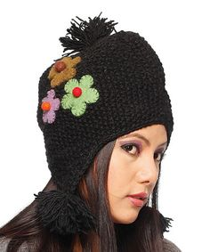 @Amalia Borntrager@amandaburk  make me one of these i like the pompom at the end of the ear flap           Take a look at this Black & Pink Flower Wool Earflap Hat by Rising International on #zulily today!