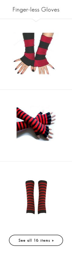 """""""Finger-less Gloves"""" by ark-country-darlin ❤ liked on Polyvore featuring accessories, gloves, steampunk gloves, steam punk gloves, arm warmer gloves, arm warmers, luvas, other, fingerless gloves and red and black fingerless gloves"""