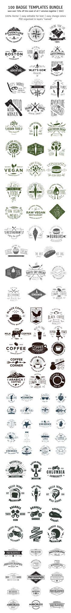 100 Badge Templates PSD, AI Bundle #design Download: https://creativemarket.com/alitdesign/302552-100-Badge-Templates-Bundle?u=ksioks