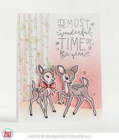 Avery Elle Comfort & Joy Reindeer Card by Melania Deasy.
