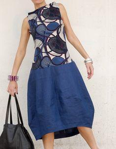 Vestito Lino Blu - Vestiti in Lino - Abito in Lino Blu - Abiti in Lino - Vestito Midi Blu - Abito Midi Lino - Vestito Senza Maniche - Abito di atelierPop su Etsy
