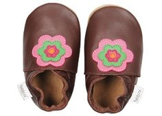 b49483cd036 Braune Soft Sole Babyschuhe 'Flower Power' Babyschoentjes, Meisjesschoenen,  Flower Power, Slippers