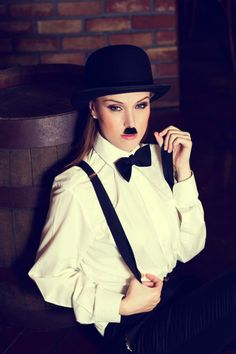 Woman model as a Charlie Chaplin Hollywood Costume, Hollywood Party, Charlie Chaplin Costume, Halloween 2016, Halloween Costumes, Dyi Costume, Under The Stars, Costumes For Women, Female Models