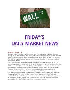 Fridays Daily Market News www.equitysourcemortgage.com