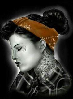 Skull Girl Tattoo, Pin Up Girl Tattoo, Girl Tattoos, Chicano Drawings, Chicano Art, Day Of Dead Tattoo, Aztecas Art, Chola Girl, Latino Art