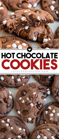Hot Chocolate Cookies Made From Hot Cocoa Mix. This is the most popular cookie r… Hot Chocolate Cookies Made From Hot Cocoa Mix. This is the most popular cookie recipe on Love From The Oven! Perfect for Christmas Cookies! Holiday Desserts, Holiday Baking, Just Desserts, Holiday Recipes, Delicious Desserts, Yummy Food, Christmas Cookie Recipes, Winter Desserts, Winter Recipes