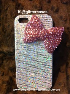 White sparkle/glitter iphonec 5 case with XL pink by GlitterLovers, $20.00