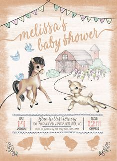 Baby Farm Animals Baby Shower Invitation  Farm by dSignsAllKinds