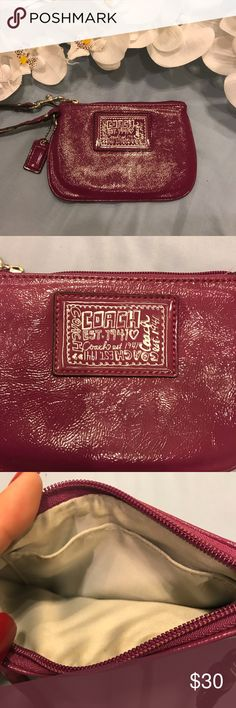 🌷Coach Poppy Patent Purple Wristlet 🌷 🌷Selling Cute coach poppy wristlet  🌷It's super New from the inside & out.                                🌷But the handle it's kind of stiff ..it was hung for several years in my closet .. but it's bendable .. no biggie  🌷Bundle & Save Coach Bags Clutches & Wristlets