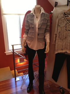 Love love love this combo. Saw a similar one on pinterest the other day, and thought hey I can copy that over into CAbi. CAbi ponte leggings and shirt tunic from fall 2012 and our new CAbi Jacket Du Jour from the spring collection. Graphic prints are all in, and particular black and white combo is huge huge huge this spring. This jacket is so chock full of amazingly flattering details. And you know Carol - there is always a body flattery purpose with every single detail she adds to her…
