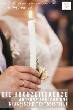 Eine selbstgemachte Hochzeitskerze bei der freien Trauung ist immer eine gute Idee. Ob im Vintage oder Boho Stil. Ob modern oder Klassisch. Ob in der katholischen oder evangelischen Kirche. Hier findest Du tolle Textbeispiele und Vorlagen für Sprüche und Gebete. #Goldröschen #Hochzeitskerze