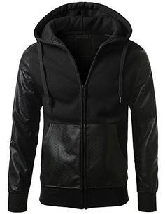 URBANCREWS Mens Hipster Hip Hop Alligator PU Trim Hooded Fleece Jacket at Amazon Men's Clothing store: