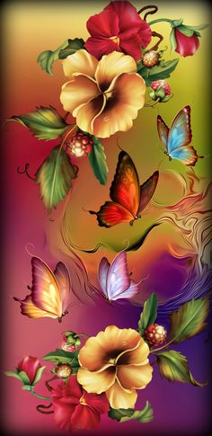 Flowers Fantasy - All About Flower Phone Wallpaper, Butterfly Wallpaper, Cute Wallpaper Backgrounds, Butterfly Art, Flower Backgrounds, Cellphone Wallpaper, Colorful Wallpaper, Galaxy Wallpaper, Flower Art