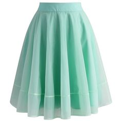Chicwish Turely Tulle A-line Skirt in Mint ($47) ❤ liked on Polyvore featuring skirts, green, knee length tulle skirt, tulle skirt, sheer skirt, green skirt and layered skirt