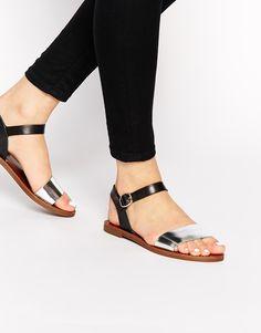 Windsor Smith Bondi Black Leather Flat Sandals