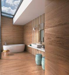 Revestir 2013 - Graças à impressão em alta defnição, os porcelanatos da linha Imaggio HD Miura (1,06 x 0,26 m) ganham tons e veios como os da madeira muiracatiara. Da Biancogres, para paredes e pisos internos e externos.