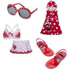 Minnie Mouse swim collection, created by kristy-hunter on Polyvore