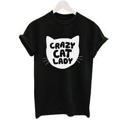 CRAZY CAT LADY Print Fashion Thin Women T Shirt Letter T-shirt Tops Harajuku Tee White Short Sleeve Shirts Casual Black Tees