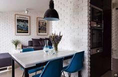Blog wnętrzarski - design, nowoczesne projekty wnętrz: Mieszkanie dwupoziomowe - ściany z białej cegły