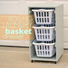 "#DIY rolling laundry basket ""dresser"" this would make doing laundry WAY easier on my back!.......see if hubby will build something like this except longer so i can fold on it"