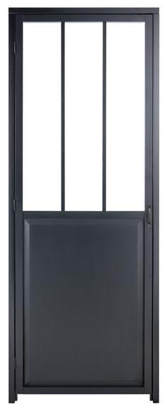 Porte Coulissante Aluminium Noir Fonce Verre Trempe Atelier Artens
